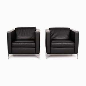 Black Leather Foster 500 Armchairs from Walter Knoll, Set of 2