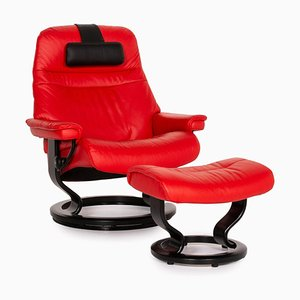 Red Leather Sunrise Armchair & Stool from Stressless, Set of 2