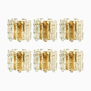 Ice Glass Wall Sconces in Brass Tone by J.T. Kalmar, Austria, 1960s, Set of 6