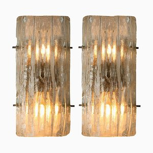 Glass Wall Sconces by J.T. Kalmar, Austria, 1970s, Set of 2