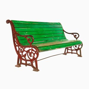 Bench in Wood and Cast Iron with Green Patina, 1940s