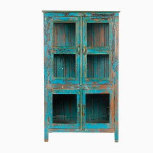 Glass Cabinet in Wood with Blue Patina, 1940s
