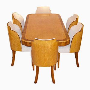 Art Deco Dining Table & Chairs Set, 1930s, Set of 7