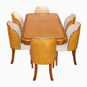 Set de Table de Salle à Manger & Chaises Art Déco, 1930s, Set de 7