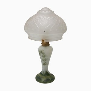 Art Deco Glass Table Lamp, Bohemia, 1930s