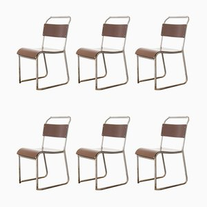 Vintage Stacking Bakelite Seat Dining Chairs, 1940s, Set of 6