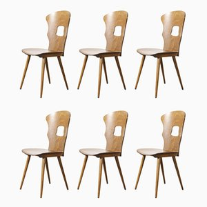French Bentwood Gentiane Dining Chairs from Baumann, 1950s, Set of 6