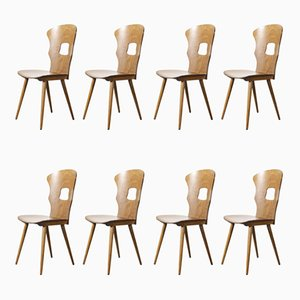French Bentwood Gentiane Dining Chairs from Baumann, 1950s, Set of 8