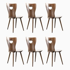 French Bentwood Classic Shaped Dining Chairs from Baumann, 1950s, Set of 6