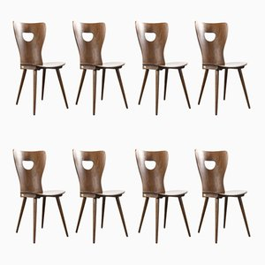 French Bentwood Classic Shaped Dining Chairs from Baumann, 1950s, Set of 8