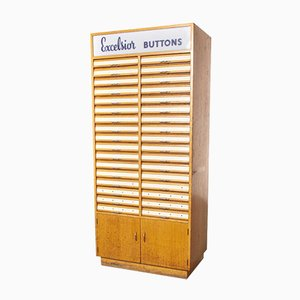Excelsior Haberdashery Multi Drawer Button Cabinet Pollards with 34 Drawers, 1950s