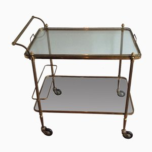 French Neoclassical Style Brass Drinks Trolley from Maison Bagués, 1940s
