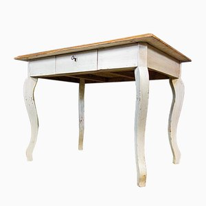 French Brocante White Table with Brown Leaf and Drawer, 1920s