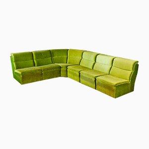 Vintage Green Velvet Modular Corner Sofa, 1970s