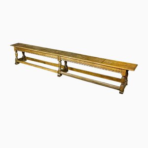 Antique Belgian Wooden Cloister Bench, 1880s