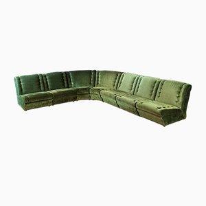 Sofá modular vintage de terciopelo verde, años 70
