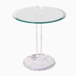 Vintage Glass Side Table with Marble Base from Cattelan
