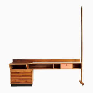 Console Table in Blond Walnut and Formica, Italy, 1955