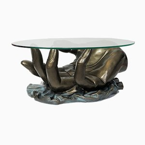 Hollywood Regency Hand-Shaped Fiberglass Coffee Table with Bronze Patina, 1970s