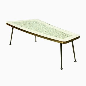 Mid-Century Organically Shaped Brass-Leg Coffee Table, 1950s