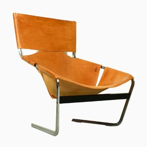 F444 Lounge Chair in Natural Leather by Pierre Paulin for Artifort, the Netherlands, 1963