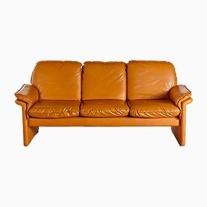 Camel Brown Leather Sofa, 1960s