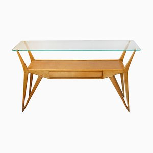 Wooden Console Table with Glass Top and Brass Elements, 1950s