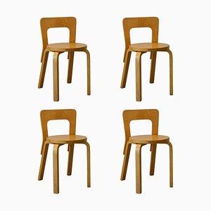 Chaises de Salon Modèle 65 par Alvar Aalto pour Artek, 1960s, Set de 4
