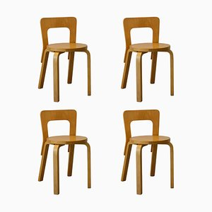 Model 65 Dining Chairs by Alvar Aalto for Artek, 1960s, Set of 4
