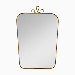 Specchio con bordo in ottone nello stile di Gio Ponti, anni '50