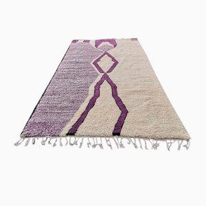 Large Vintage Beige and Purple Azilal Berber Carpet