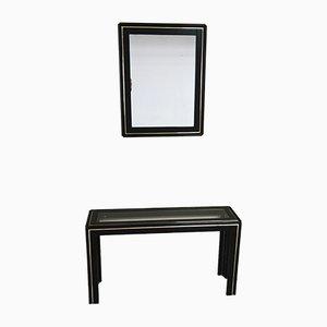 Consolle Mid-Century in legno laccato nero e vetro con specchio, anni '60, set di 2