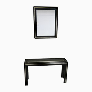 Mid-Century Italian Black Lacquered Wood, Gilt Metal & Glass Console Table & Mirror, 1960s, Set of 2
