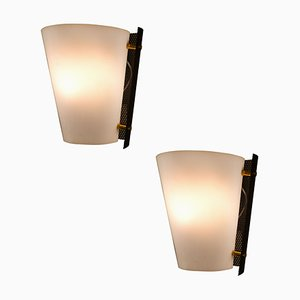 Black, White & Gold Sconces from Stilnovo, 1950s, Set of 2