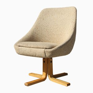 Scandinavian Wood and Fabric Shell Tulip Children's Chair, 1960s