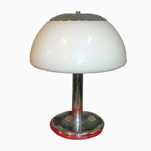 Mid-Century Mushroom Tischlampe aus Chrom & Weißem Lampenschirm von Cosack, 1970er