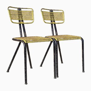 French Modern Perforated Steel Chairs from Seducta, 1950s, Set of 2