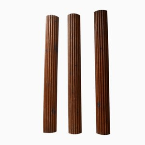 Vintage French Wooden Columns, Set of 3
