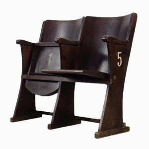 Vintage Czechoslovakian Wooden 2-Seat Cinema Chairs, 1930s