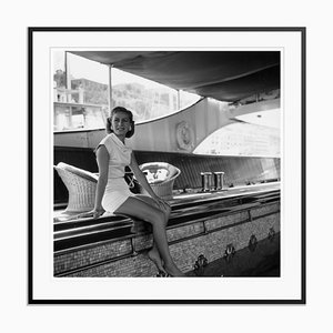 Tina Onassis Only Silver Fibre Gelatin Print Framed in Black by Slim Aarons
