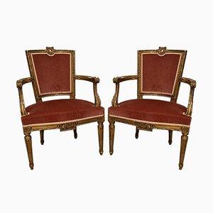 Napoleon III Period Louis XVI Style Golden Wood Cabriolet Armchairs, Set of 2
