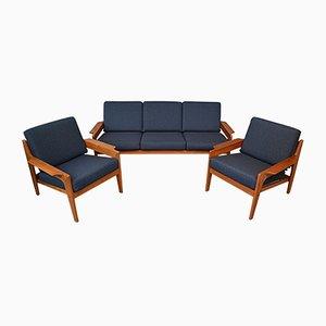 Dänische Vintage Teak Sitzgruppe von Arne Wahl Iversen für Komfort, 3er Set