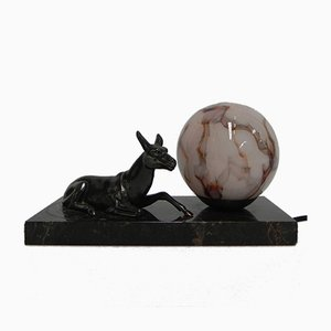 Art Deco Desk Lamp with Horse on Marble Base, 1930s