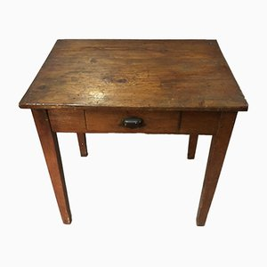 Antique Rustic Pine Table with Drawer, 1900s