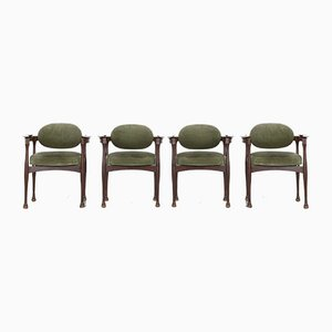 Italian Teak Dining Chairs, 1960s, Set of 4