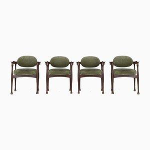Italienische Esszimmerstühle aus Teak, 1960er, 4er Set