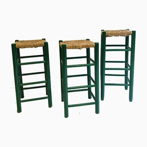 Vintage Dutch Green Wooden & Rattan Seating Barstools, 1950s, Set of 3