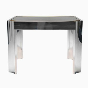 Mid-Century Coffee Table with Aluminium Base and Brass Trim