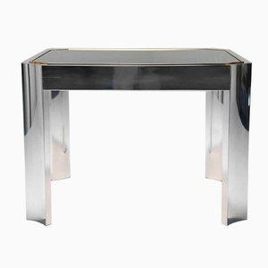 Tavolino da caffè Mid-Century con base in alluminio e bordo in ottone