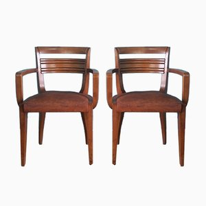 French Leather Bridge Chairs, 1930s, Set of 2